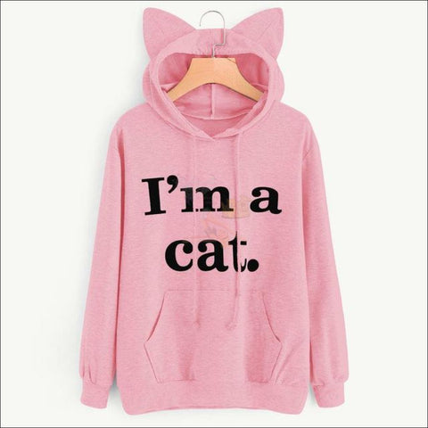 Image of Cat Ear Hoodies For Girls - Best Sweatshirts For Women Pink by Blissfactory Pet Supplies