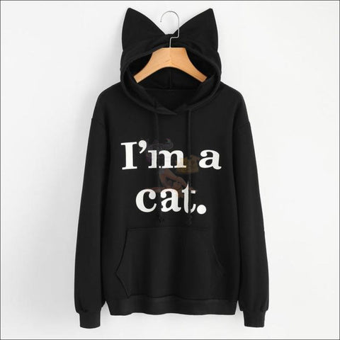Image of Cat Ear Hoodies For Girls - Best Sweatshirts For Women Blackby Blissfactory Pet Supplies