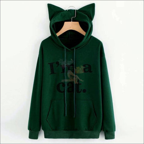 Image of Cat Ear Hoodies For Girls - Best Sweatshirts For Women Green by Blissfactory Pet Supplies