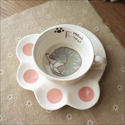 Image of Japanese Porcelain CAT Coffee Mugs Coffee Table sets /Tea Set Haiiro no niko by Blissfactory Pet Supplies