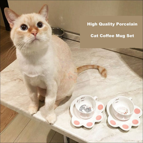 Japanese Porcelain CAT Coffee Mugs Coffee Table sets /Tea Set by Blissfactory Pet Supplies