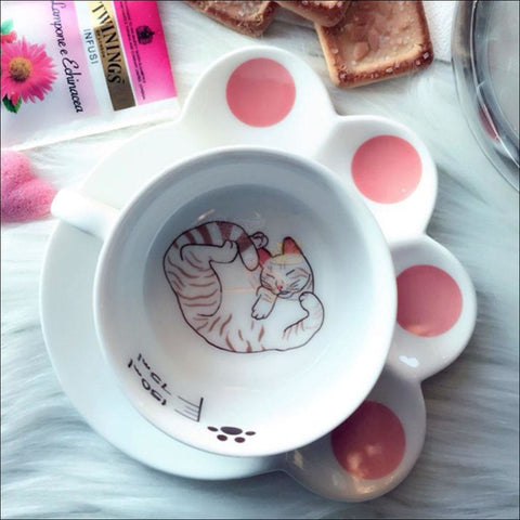 Image of Japanese Porcelain CAT Coffee Mugs Coffee Table sets /Tea Set Design by Blissfactory Pet Supplies