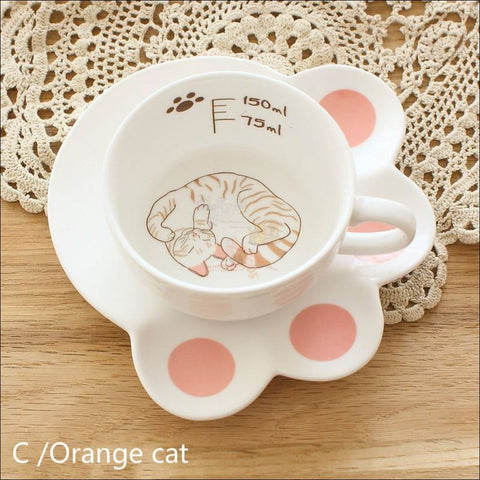 Japanese Porcelain CAT Coffee Mugs Coffee Table sets /Tea Set sutoraipu no neko by Blissfactory Pet Supplies