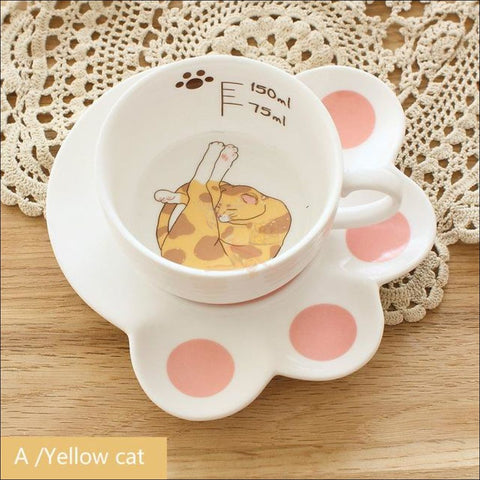 Image of Japanese Porcelain CAT Coffee Mugs Coffee Table sets /Tea Set orenji no neko by Blissfactory Pet Supplies