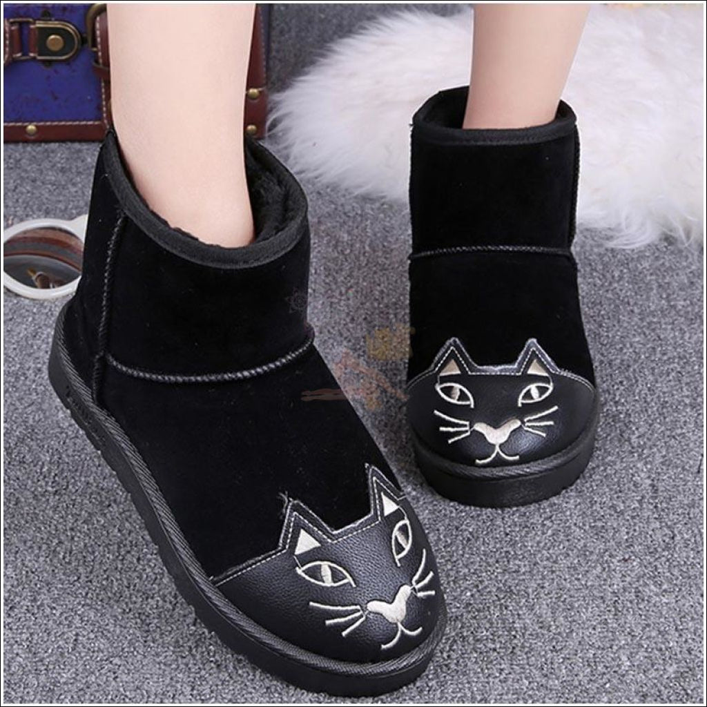 Lovely Cat Ankle Boot or Snow Boots Black by Blissfactory Pet Supplies