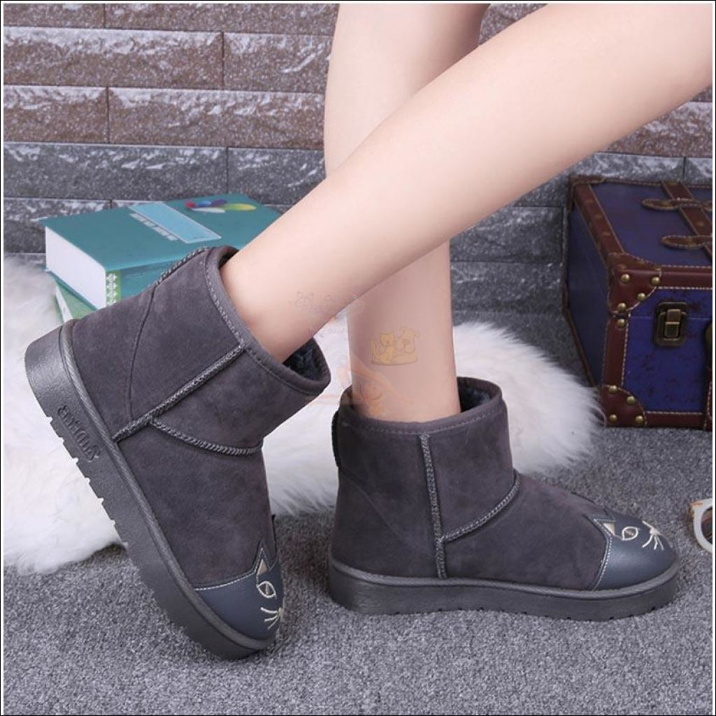 Lovely Cat Ankle Boot or Snow Boots Gray by Blissfactory Pet Supplies