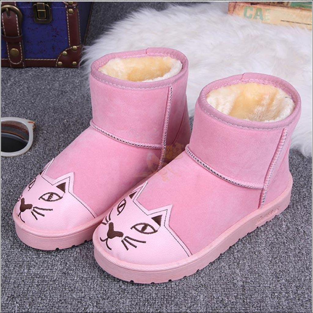 Lovely Cat Ankle Boot or Snow Boots Pink by Blissfactory Pet Supplies