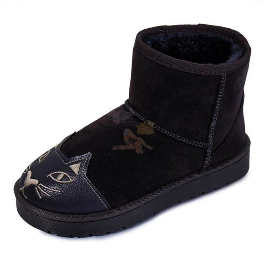 Lovely Cat Ankle Snow Boots Black / 5
