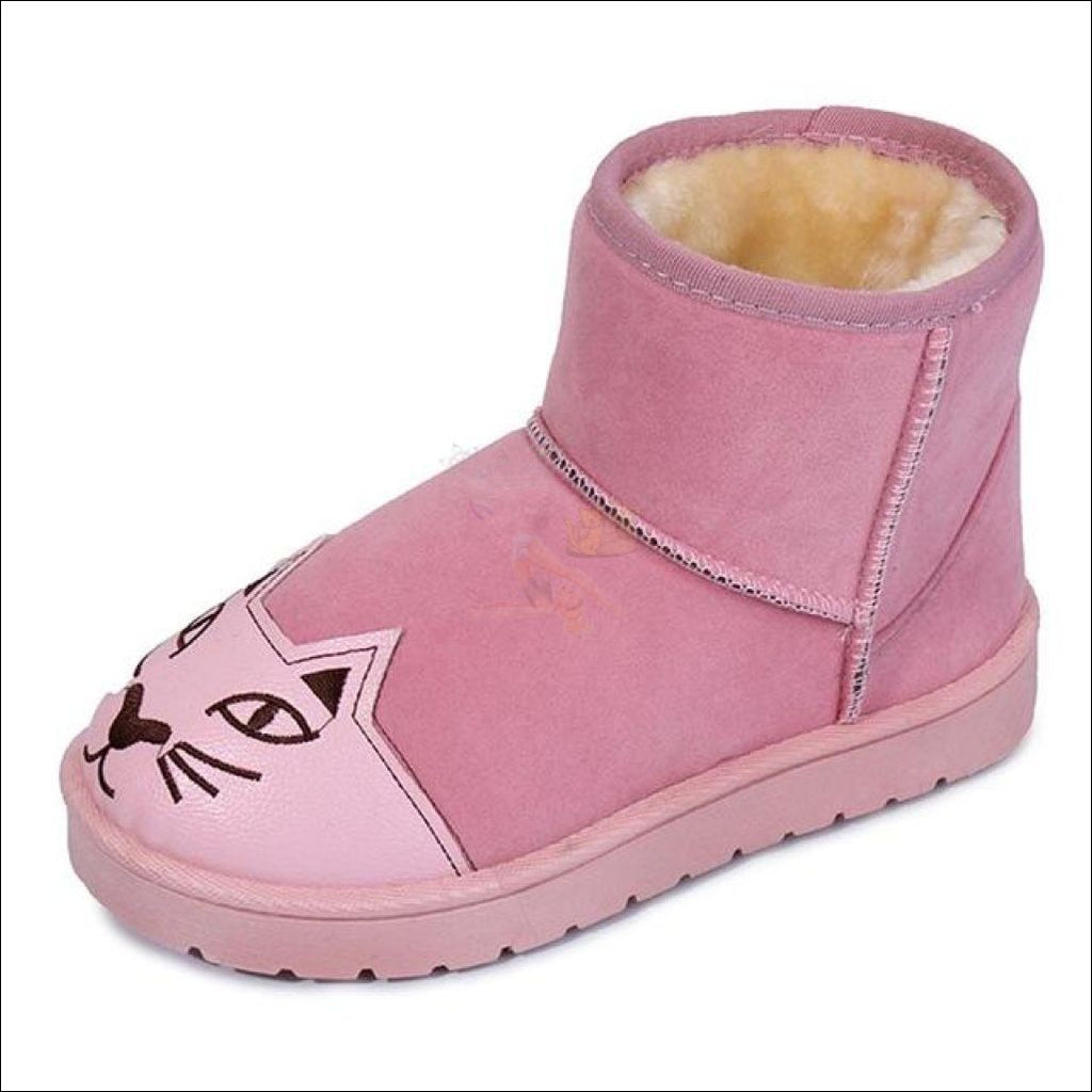 Lovely Cat Ankle Snow Boots Pink / 5