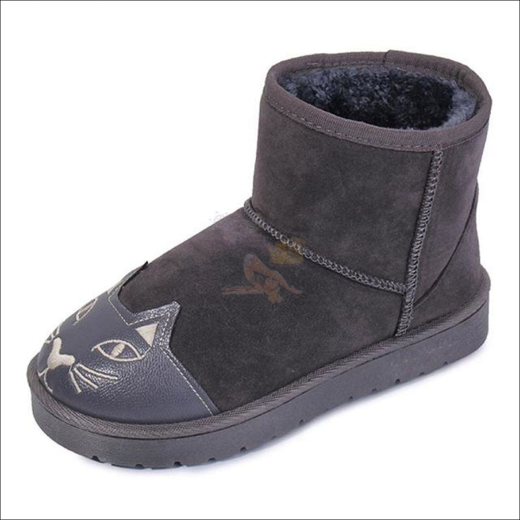 Lovely Cat Ankle Snow Boots Grey / 5