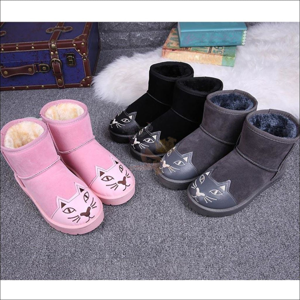 Lovely Cat Ankle Snow Boots