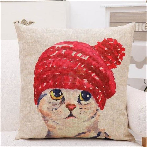 Lovely Cat Pillow Covers- Best Home Decor Bobble hat by Blissfactory Pet Supplies