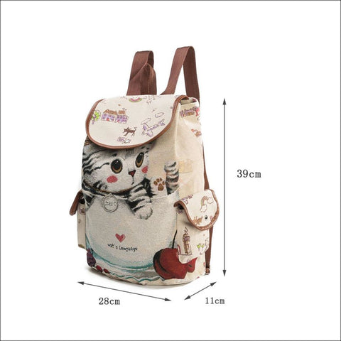 Image of Lovely Cat Backpack | Backpacks For School Backpack Measurement by Blissfactory Pet Supplies