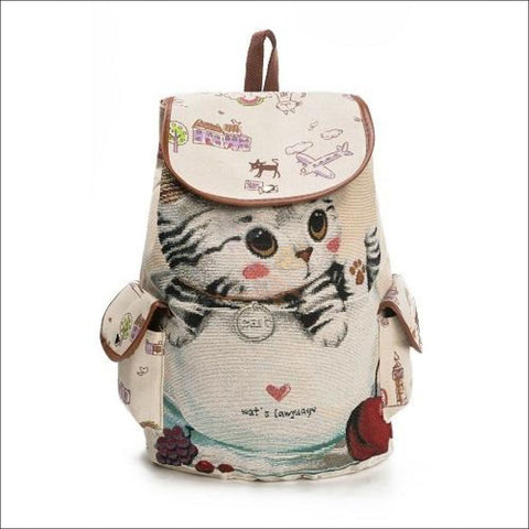 Lovely Cute Kitten Drawstring Backpack Cup