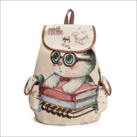 Image of Lovely Cat Backpack/ Backpacks For School- Waterproof Backpack Nerdy Kitten by Blissfactory Pet Supplies
