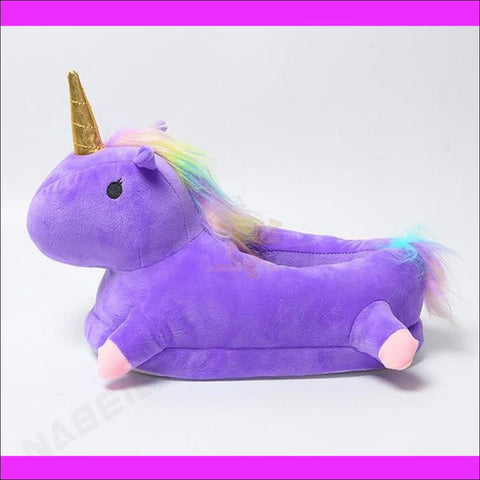 Magic Unicorn Slippers- Womens Slippers/House Slippers Purple by Blissfactory Pet Supplies