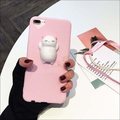 Image of Cat Shaped Stress Balls Iphone Cases- cool iphone cases Cat Pink by Blissfactory Pet Supplies