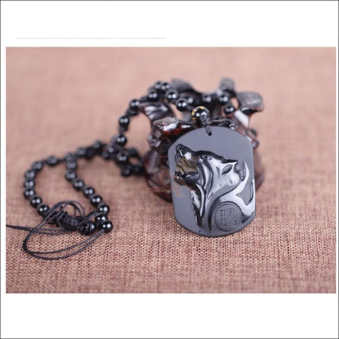 Precious Mystic Howling Wolf Spirit Obsidian Necklace (Free Shipping)