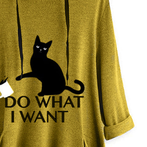 Image of I D0 WHAT I WANT OVERSIZE HOODIE WITH CAT EARS