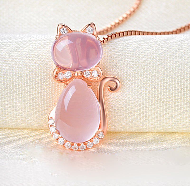 Rose Gold  Necklace- Best pearl necklace/pendant necklace Pink by Blissfactory Pet Supplies
