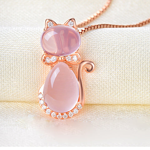 Pink Opal Rose Gold Plated Cat Necklace