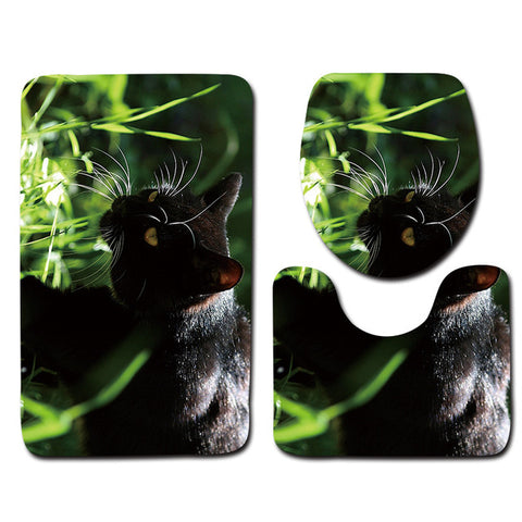 Anti-Slip Cat printed Bathroom Rugs Set- Best Bathroom Decor 1 By Blissfactory Pet Supplies
