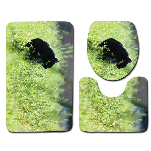 Anti-Slip Cat printed Bathroom Rugs Set- Best Bathroom Decor 4 By Blissfactory Pet Supplies