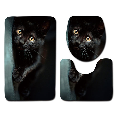 Anti-Slip Cat printed Bathroom Rugs Set- Best Bathroom Decor 15 By Blissfactory Pet Supplies