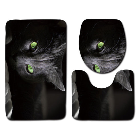 Anti-Slip Cat printed Bathroom Rugs Set- Best Bathroom Decor By 15 Blissfactory Pet Supplies