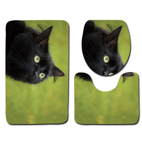 Anti-Slip Cat printed Bathroom Rugs Set- Best Bathroom Decor 18 By Blissfactory Pet Supplies