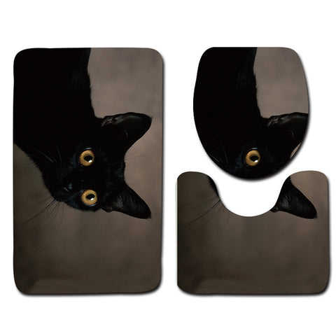 Anti-Slip Cat printed Bathroom Rugs Set- Best Bathroom Decor 19 By Blissfactory Pet Supplies