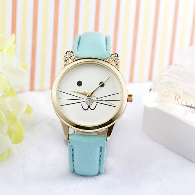 Smiley Cat Watches for women - Ladies Watch Mintgreen By Blissfctory Pet Supllies