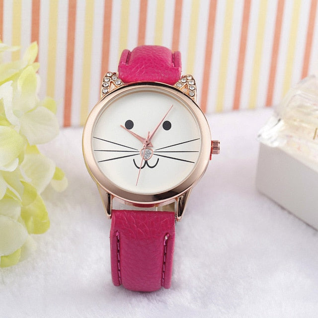 Smiley Cat Watches for women - Ladies Watch Pink By Blissfctory Pet Supllies