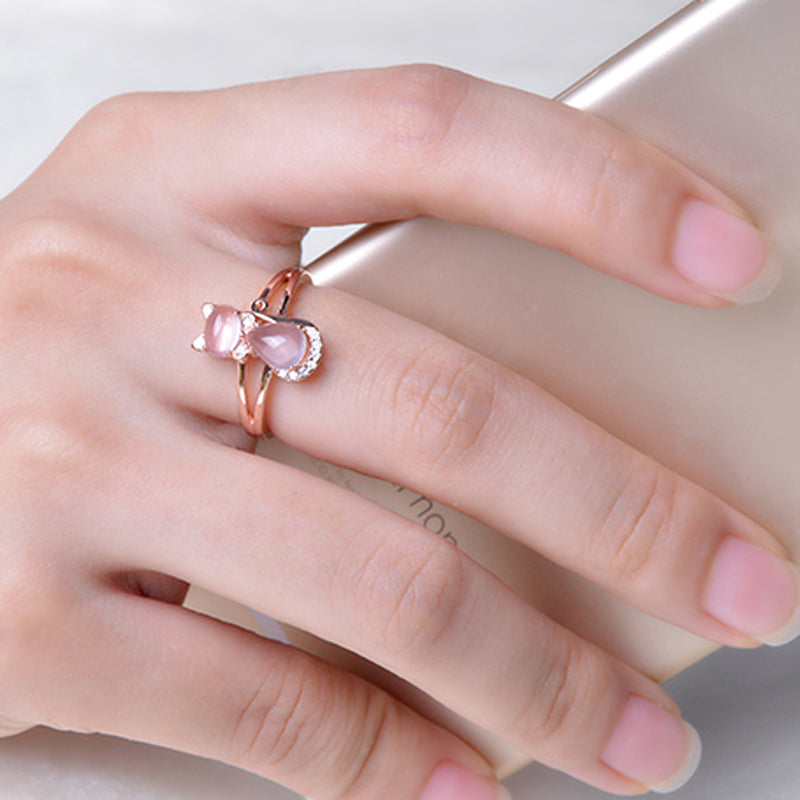 Pink Opal Rose Gold Plated Cat Ring