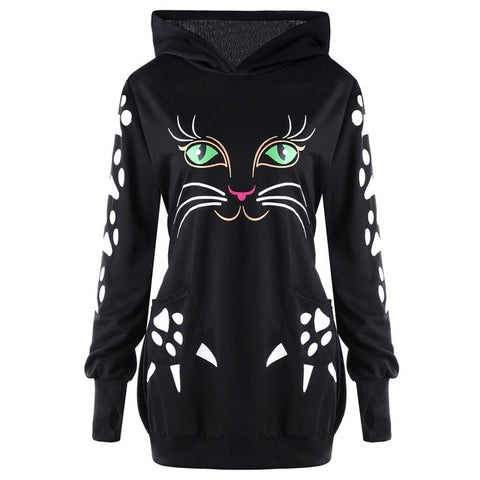Lovely Cat Hoodie/Sweaters For Women- Best sweatshirt Black by Blissfactory Pet Supplies