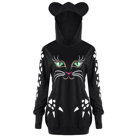 Image of Lovely Cat Hoodie/Sweaters For Women- Best sweatshirt Black by Blissfactory Pet Supplies