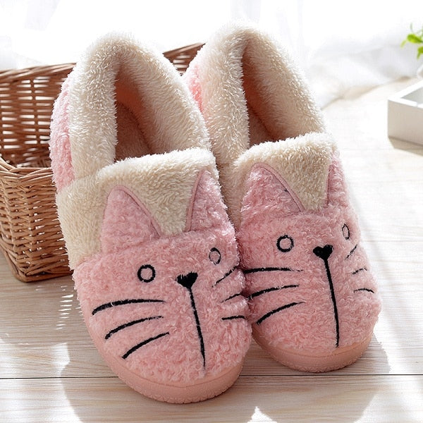 CUTE FLUFFY CAT PLUSH SLIPPERS for adults