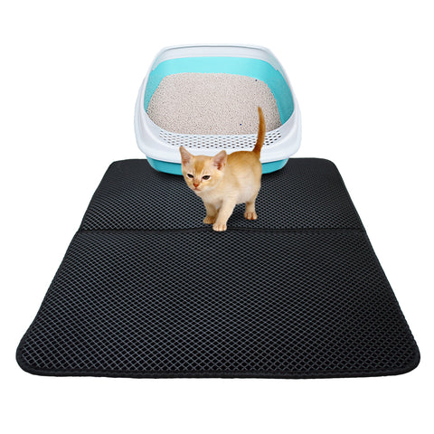 EasyClean™ Cat Litter Mat- best Litter Box black by Blissfactory Pet Supplies