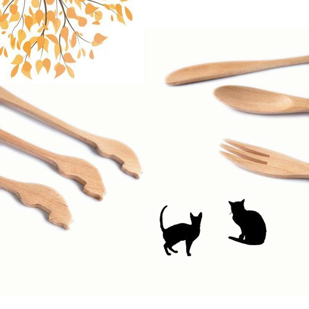 Wooden Cat Designed Baby Spoon, knife and fork -  Best Cutlery Design by Blissfactory Pet Supplies
