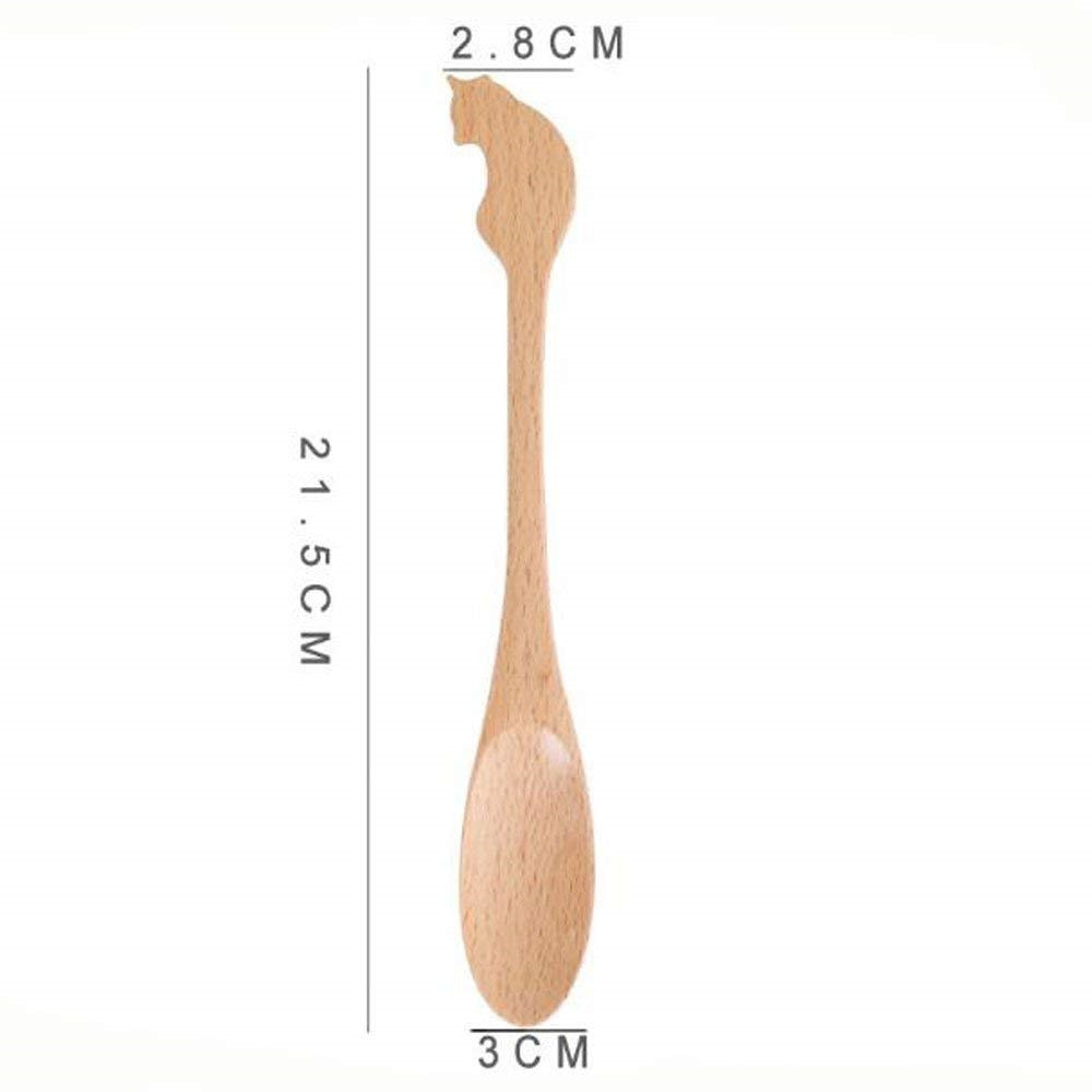 Wooden Cat Designed Baby Spoon, knife and fork -  Best Cutlery Size by Blissfactory Pet Supplies