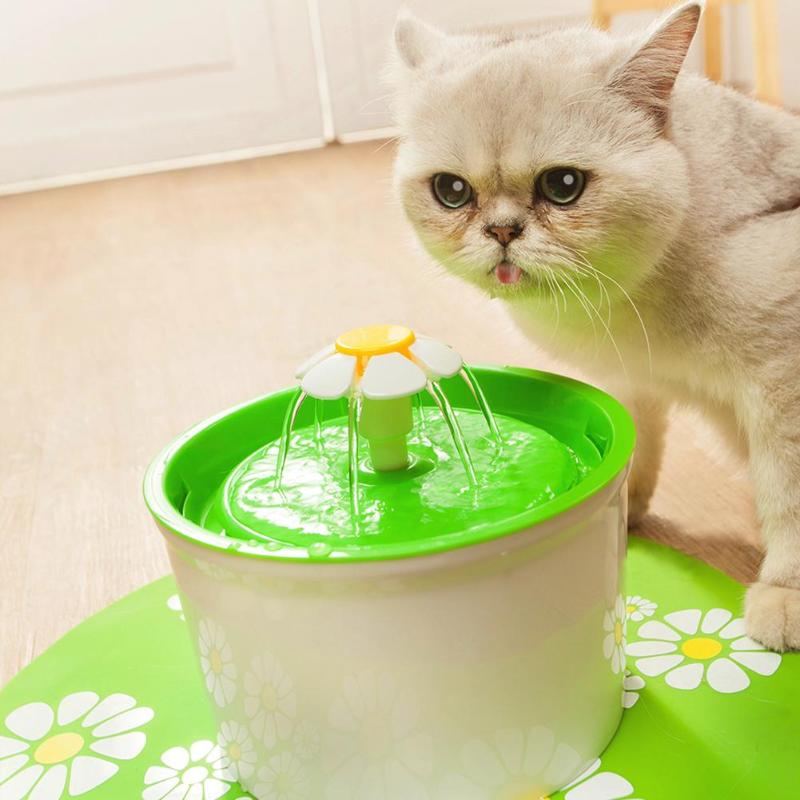 Automatic Cat Water Fountain or Dog Water Fountain green drinking cat by Blissfactory Pet Supplies