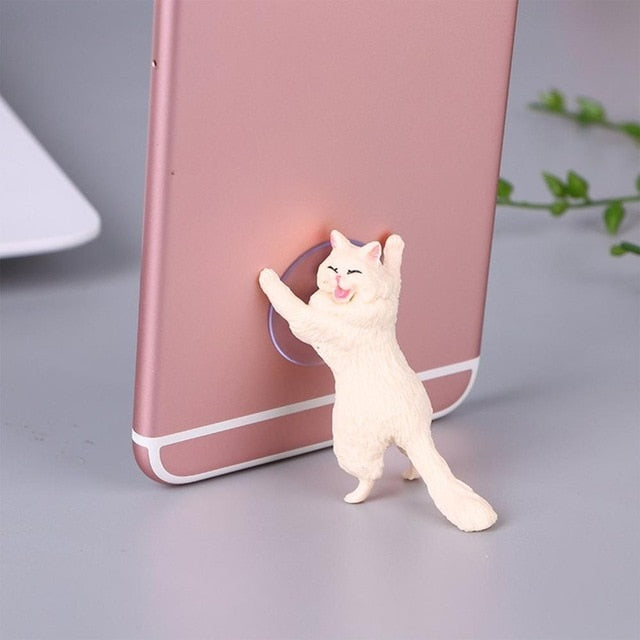 Cheeky Cat phone Holder, Cat Tablet Holder or Cat Popsocket white by Blissfactory Pet Supplies
