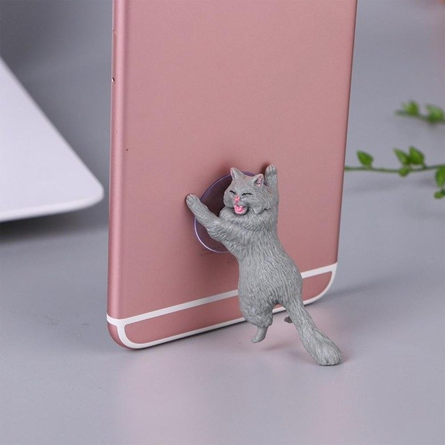 Cheeky Cat phone Holder, Cat Tablet Holder or Cat Popsocket gray by Blissfactory Pet Supplies