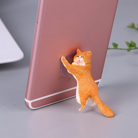 Cheeky Cat phone Holder, Cat Tablet Holder or Cat Popsocket orange by Blissfactory Pet Supplies
