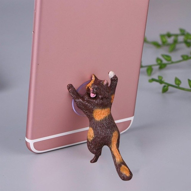 Cheeky Cat phone Holder, Cat Tablet Holder or Cat Popsocket brown orange by Blissfactory Pet Supplies