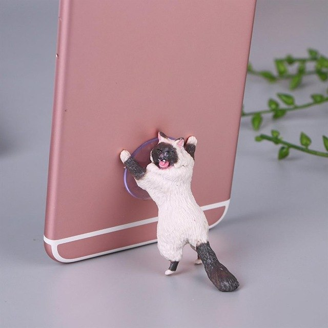 Cheeky Cat phone Holder, Cat Tablet Holder or Cat Popsocket white gray by Blissfactory Pet Supplies