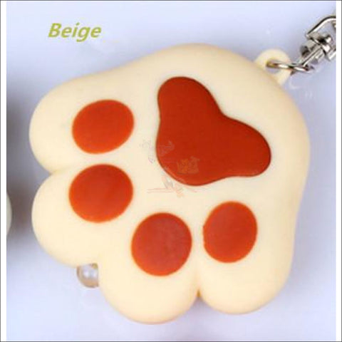 Image of Cat Paw Cute Keychains with Flashlight- Best key Rings Beige by Blissfactory Pet Supplies