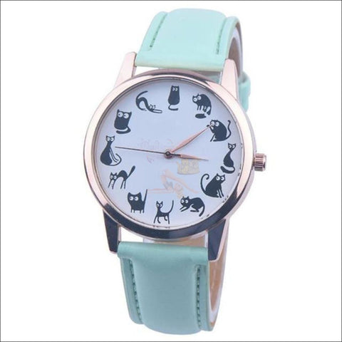 Image of Cute Cat Watches for women - Ladies Watch Green by Blissfactory Pet Supplies