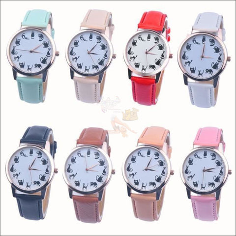 Cute Cat Watches for women - Ladies Watch Different colors by Blissfactory Pet Supplies