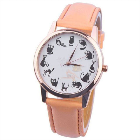 Image of Cute Cat Watches for women - Ladies Watch Orange by Blissfactory Pet Supplies